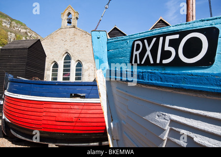 Fishing Boats and Net Hut in Hastings Old Town - Stock Photo