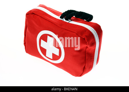 First aid box, for traveling. Medical help for outdoors. - Stock Photo