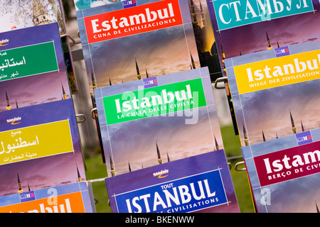Guide books for sale at a tourist shop in Instanbul, Turkey - Stock Photo