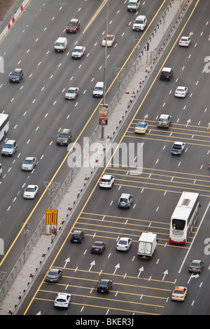 Elevated view of traffic along Sheikh Zayed Road, Dubai, United Arab Emirates - Stock Photo