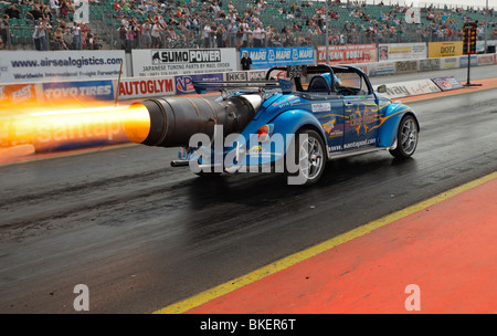 Blue Max jet powered VW beetle, driven by Ronnie Picardo. - Stock Photo