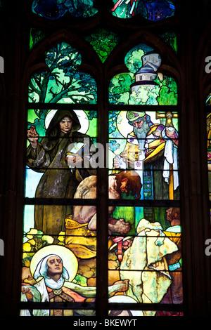 detail of window of Alfons Mucha, Saint Vitus's Cathedral, Prague castle, Prague, Czech Republic - Stock Photo