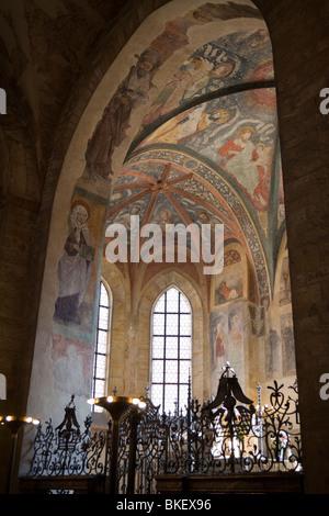 interior of St. George's Basilica, Prague castle, Prague, Czech Republic - Stock Photo