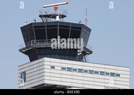 air traffic control tower at the airport Leipzig-Halle, Germany - Stock Photo