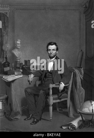 Vintage portrait c1860s of President Abraham Lincoln (1809 - 1865) - the 16th US President and the first to be assassinated. - Stock Photo