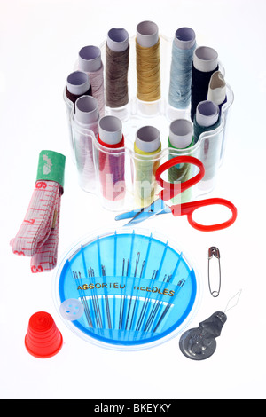 traveling set, during transport, sewing cotton, small shear, tapeline, thimble, - Stock Photo