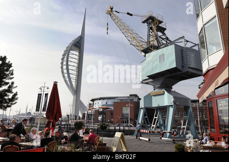 Gunwharf Quays, Portsmouth, Hampshire with the Spinnaker Tower in the background - Stock Photo