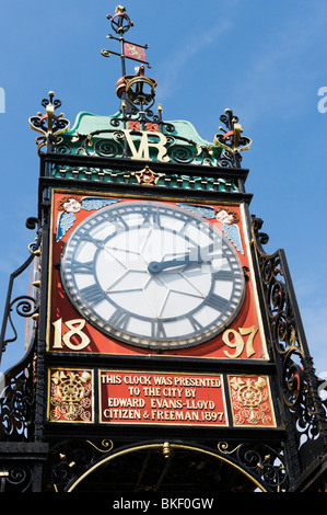 The victorian Eastgate Clock over the city gate at Eastgate in the historic centre of Chester, Cheshire, England, - Stock Photo