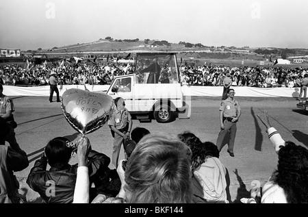 Roman Catholic Pope, John Paul II (1920-2005) in the Popemobile at Laguna Seca raceway in Monterey, California, - Stock Photo