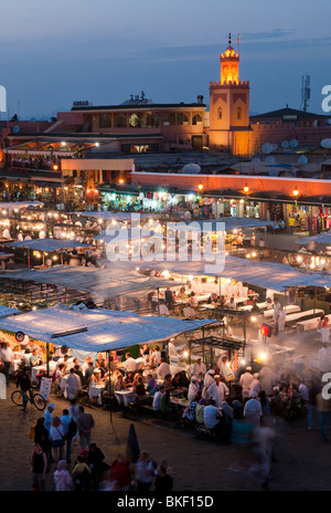 Place Jemaa el-Fna at twilight in Marrakech, Morocco - Stock Photo
