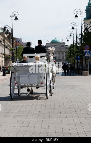 Traditional wedding  transport of 2 Grey horses, carriage and two footman at the Royal Track Street, Warsaw, Poland, - Stock Photo
