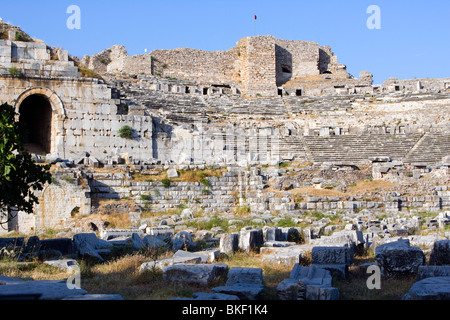 Miletus Amphitheatre ruins, fallen masonry (4th Century BC - 2nd Century AD), Turkey - Stock Photo