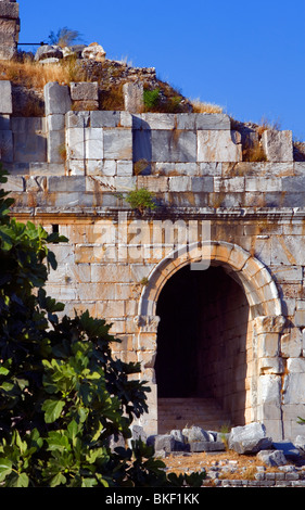 Miletus ruins, arched entrance, detail (4th Century BC - 2nd Century AD), Turkey - Stock Photo