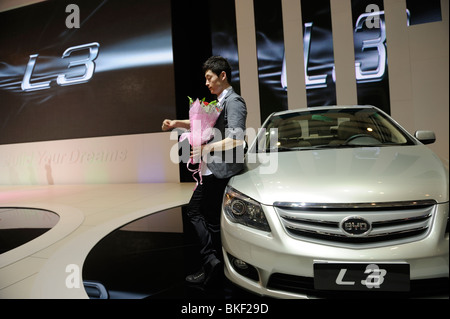 BYD L3 sedan at the Beijing Auto Show in Beijing. 24-Apr-2010 - Stock Photo