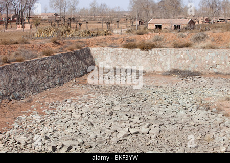 An empty village water supply in drought affected Shanxi province, China - Stock Photo