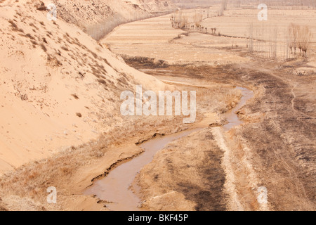 Desertification and drought conditions in Shanxi province in China. - Stock Photo