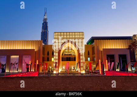 Dubai Mall, the largest shopping Mall in the world and the Burj Khalifa, Dubai, UAE, United Arab Emirates - Stock Photo