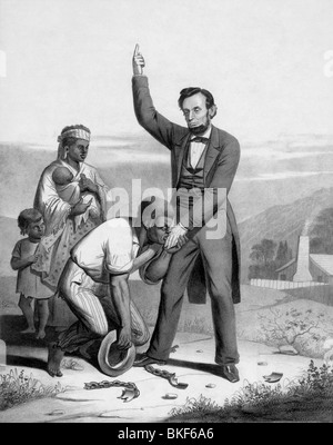 Vintage print circa 1862 depicting US President Abraham Lincoln being kissed on the hand by a freed slave.
