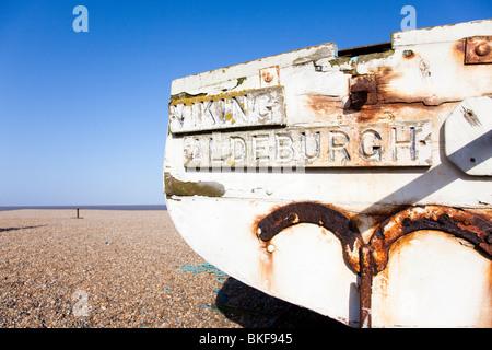 Fishing boat Viking of Aldeburgh on the beach at Aldeburgh, Suffolk, UK - Stock Photo