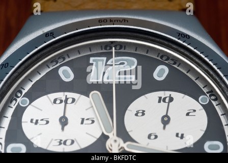 close up of chronograph wrist watch - Stock Photo