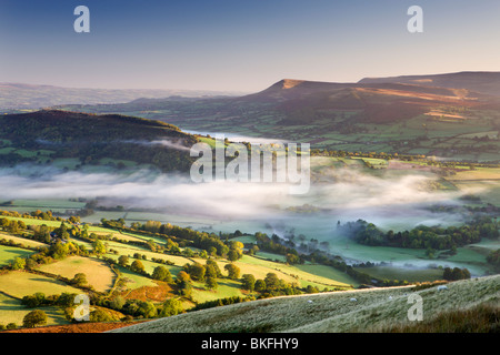 Rolling countryside in the Usk Valley, Brecon Beacons National Park, Powys, Wales, UK. Autumn (October) 2009 - Stock Photo