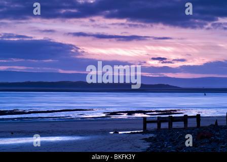 Sunset at Saunton sands,  Bideford bay near Braunton, North Devon, UK - Stock Photo