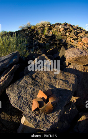 Pottery chards on the walls of Pueblo La Plata, Agua Fria National Monument, Arizona - Stock Photo