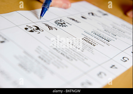generic filling in of a postal voting form for the general election on 6th May 2010 - Stock Photo