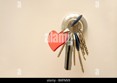 Door lock with key chain - Stock Photo