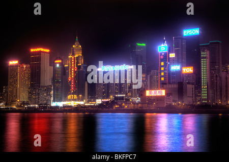 tall buildings on hong kong island city centre as seen across the harbour from tsim sha brightly colored offices central st