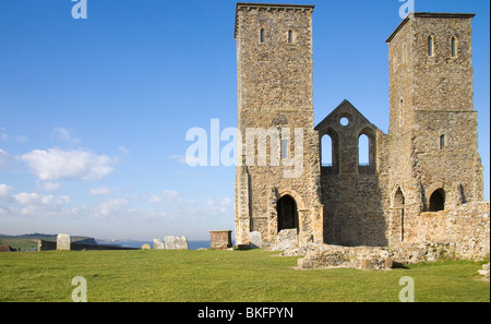 Reculver castle on the north kent coast - Stock Photo
