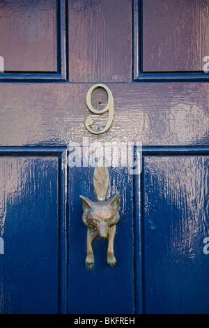 ... Close Up Of A Fox Shaped Brass Door Knocker On A Blue Door, Petworth