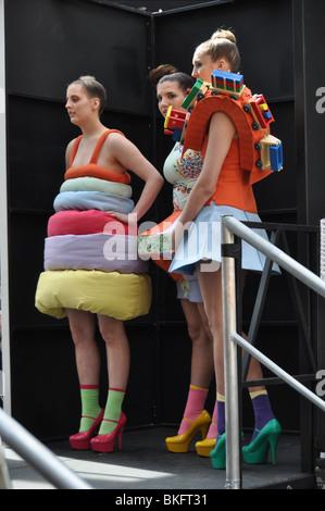 Models wait at London's annual Alternative Fashion Week-Spitalfields. England UK - Stock Photo