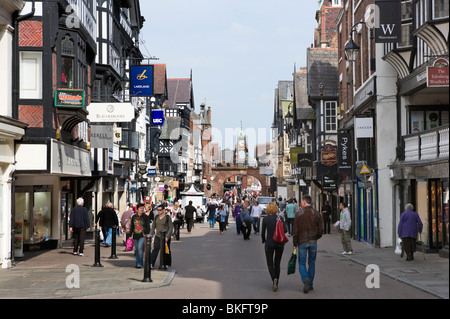 View towards the clock on Eastgate, one of The Rows in the historic centre of Chester, Cheshire, England, UK - Stock Photo