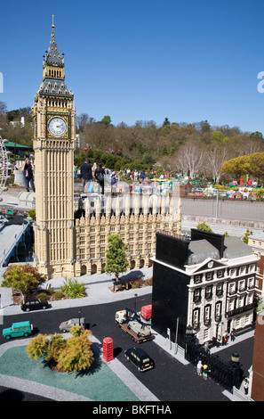 LEGO models of Big Ben, Houses of Parliament and Number 10 Downing Street in Miniland, LEGOLAND Windsor - Stock Photo