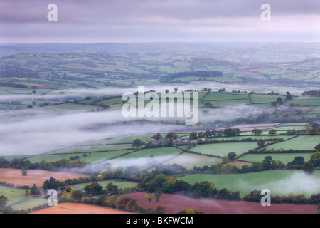 Mist covered rolling landscape near Llangorse, Brecon Beacons National Park, Powys, Wales, UK. Autumn (October) - Stock Photo