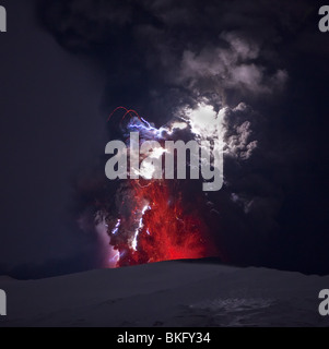 Lightning  and Lava in ash cloud during Eyjafjallajokull Volcanic Eruption, Iceland, April 18, 2010 - Stock Photo