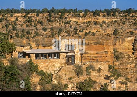 Lookout Studio, constructed of Kaibab Limestone on South Rim, Grand Canyon National Park, Arizona, USA - Stock Photo