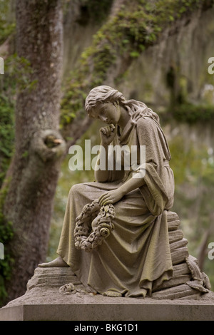 Statue of Eliza Wilhelmina Theus in historic Bonaventure Cemetery, Savannah, Georgia - Stock Photo