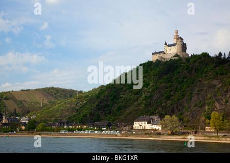 Marksburg castle near Braubach at  Rhine river - Stock Photo
