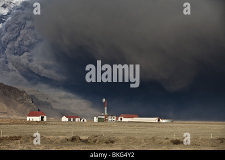 Farm with Volcanic Ash Cloud from Eyjafjallajokull Volcano Eruption, Iceland. - Stock Photo