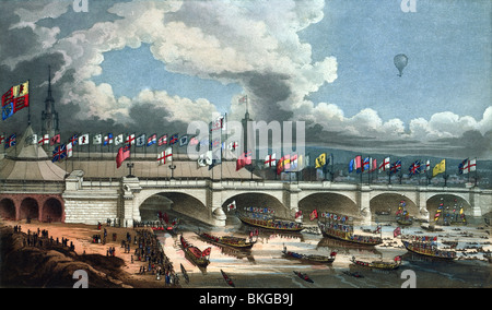 Contemporary colour engraving print depicting the opening of the new London Bridge across the River Thames on August - Stock Photo