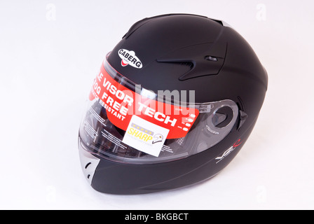 Matt Black Motorcycle Crash Helmet - Stock Photo