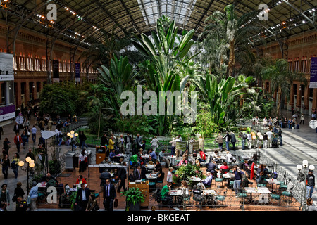 Inside view of the Atocha train station in Madrid Spain Stock Photo ...