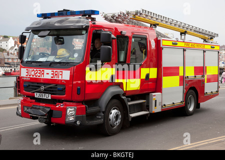Whitby Fire & Rescue Engine, red fire truck, firetruck emergency rescue vehicle, fire truck, transportation, equipment, - Stock Photo