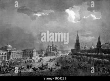 Vintage lithograph print circa 1830s depicting the view across the plaza at the Kremlin in Moscow, Russia. - Stock Photo