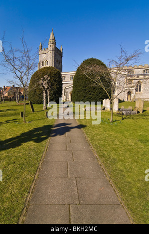 Vertical wide angle of St Mary's Parish church in Old Amersham, Buckinghamshire on a bright sunny day. - Stock Photo