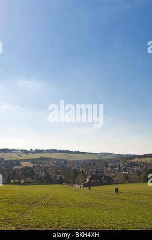 Vertical wide angle view across the Chiltern Hills of Old Amersham in Buckinghamshire on a sunny spring day. - Stock Photo