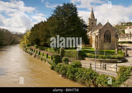 Bradford On Avon river Avon  the Norman church of Holy Trinity - Stock Photo