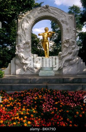 Johann Strauss Monument, Johann Strauss, monument, statue, Stadtpark, city park, Vienna, Vienna State, State of - Stock Photo